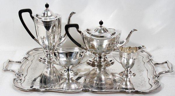 101018: ENGLISH STERLING TEA & COFFEE SET, BARKER BROS.