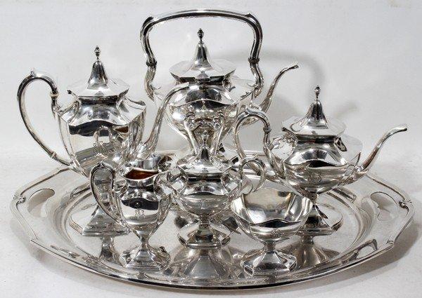 101022: INT. 'MINUET' STERLING TEA & COFFEE SET W/TRAY