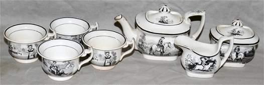 101261: ENGLISH PORCELAIN CHILD'S TEA SET, C. 1830,
