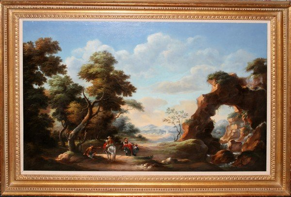 """102019: OIL ON CANVAS 18TH C, 32"""" X 48"""", FIGURES RIDING"""