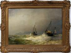 102042 HERMANN HERZOG OIL ON CANVAS 20  X 30 BOATS