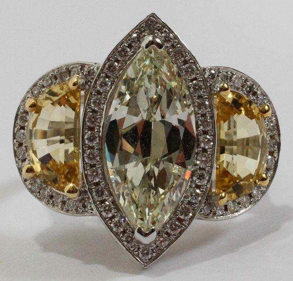 102070: 3.50 CT. MARQUISE DIAMOND & SAPPHIRE RING