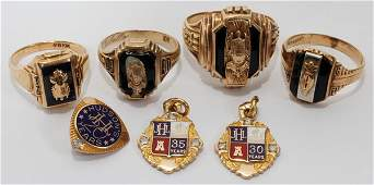 102265 10 KT YELLOW GOLD MANS MASONIC RING 7 TOTAL
