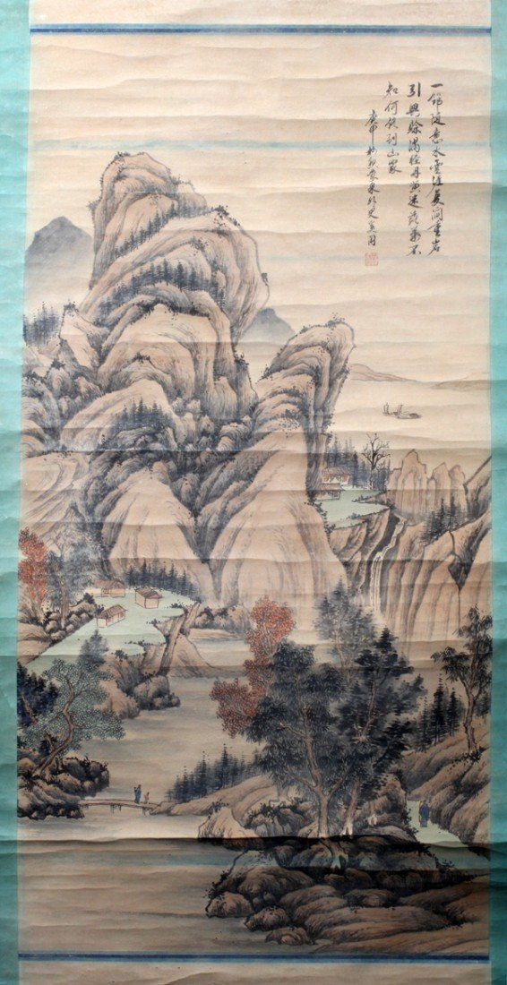 110009: XIGANG SHI CHINESE INK & WATERCOLOR SCROLL 49""