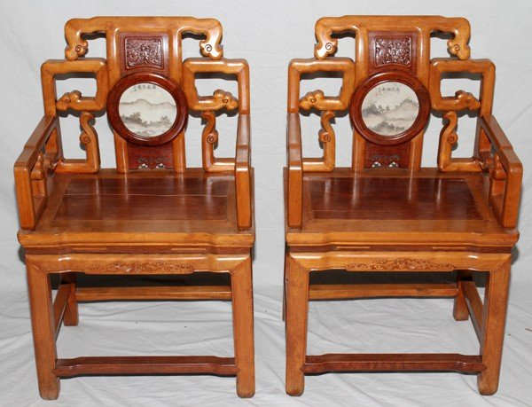 "110017: CHINESE CARVED ARMCHAIRS, PAIR, H 36"", W 23"""