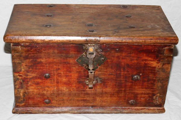 110018: CHINESE WOOD CHEST WITH FORGED METAL FITTINGS.
