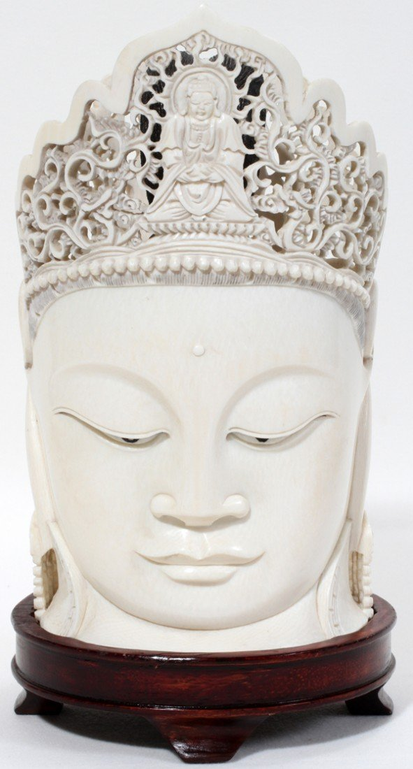 "110021: CHINESE IVORY HEAD OF BUDDHA, H 7"", W 4"""