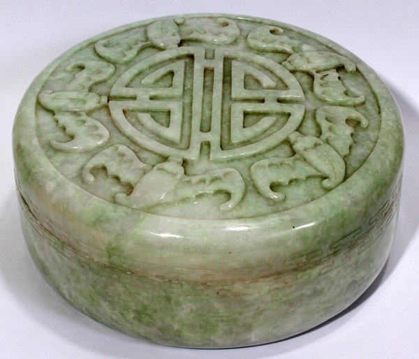 "110024: CHINESE CARVED JADE COVERED BOX, H 3"", DIA 6"""