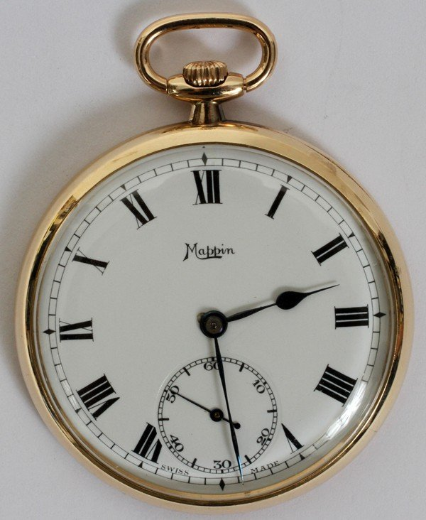 110055: MAPPIN YELLOW GOLD OPEN FACE POCKET WATCH,