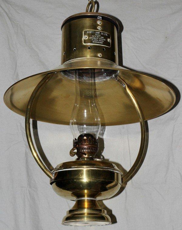 110299: SCOTT LAMP CO. LTD. BRASS HANGING OIL LAMP,