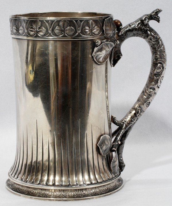 111001: GORHAM AESTHETIC MOVEMENT STERLING PITCHER 1880