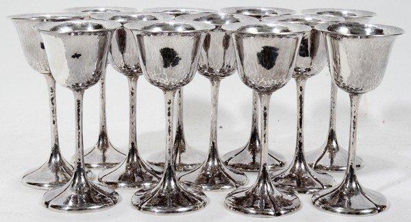 111002: THE KALO SHOP STERLING COCKTAIL GLASSES, 12,