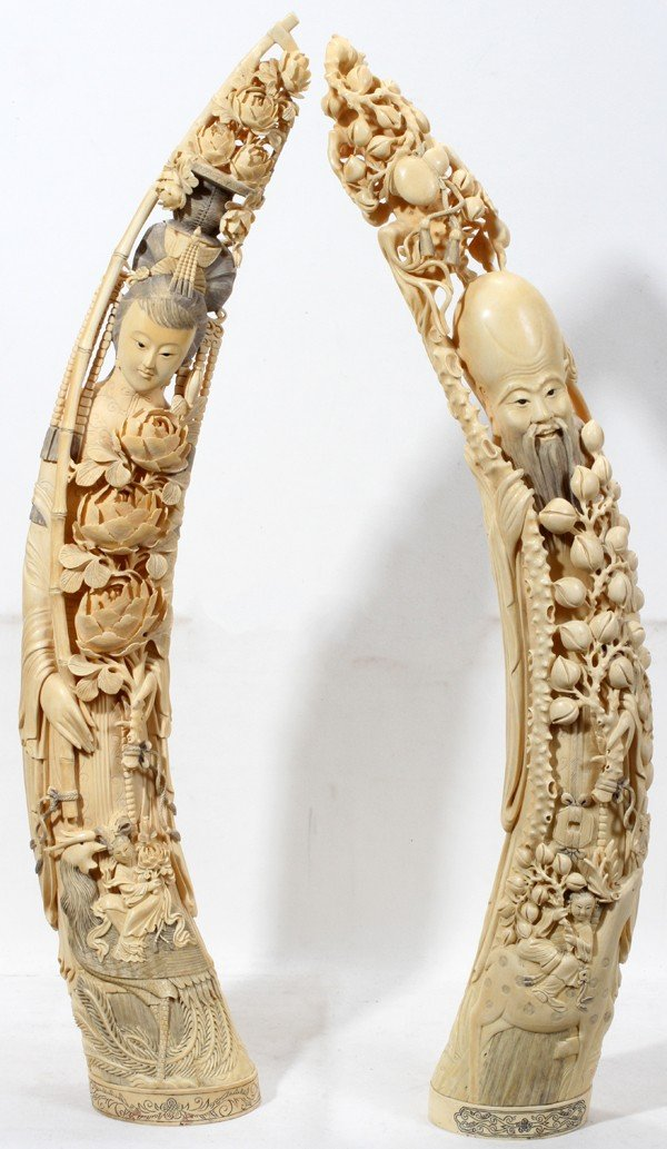 111009: CHINESE CARVED IVORY FIGURES OF QUAN YIN &