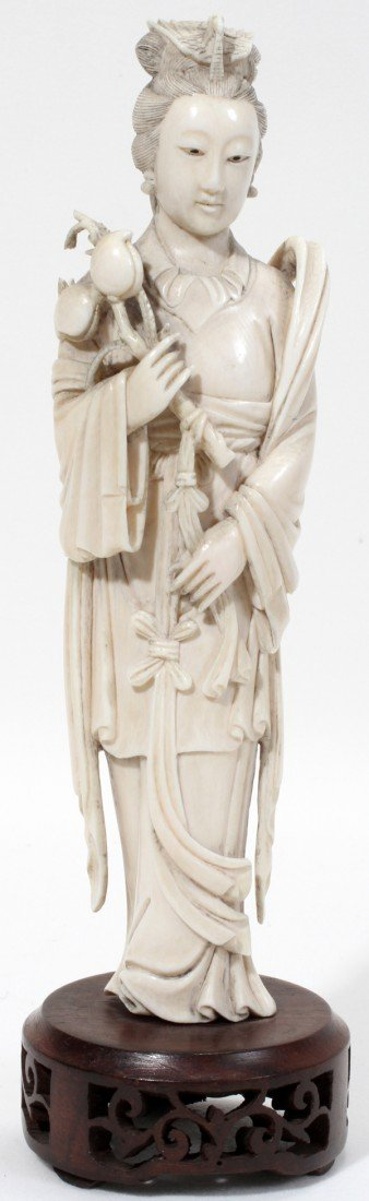 """111012: CHINESE IVORY FIGURE OF QUAN YIN, H 8"""""""
