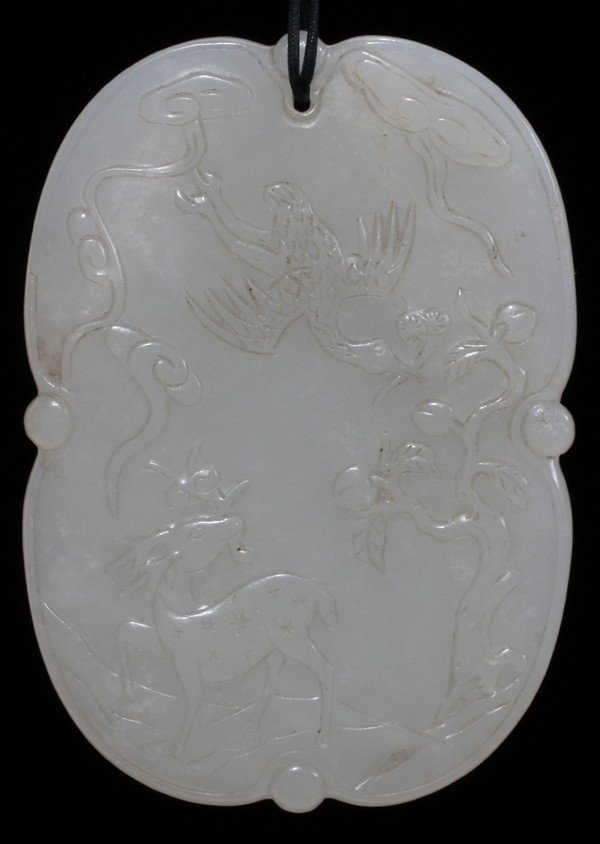 """111014: CHINESE CARVED WHITE JADE MEDALLION, 3"""" X 2"""""""