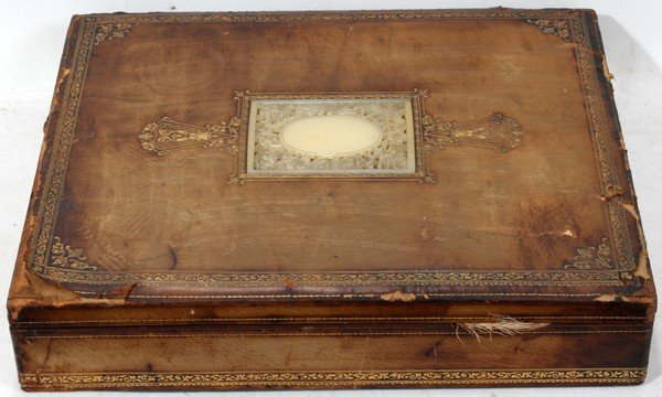 """111015: CHINESE WHITE JADE-INSET & LEATHER BOX, L 18"""""""