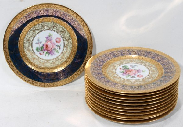 111022: HUTSCHENREUTHER FIRED GOLD & DECORATED PLATES