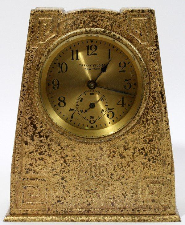 111024: TIFFANY STUDIOS 'MODELED DESIGN' DESK CLOCK,
