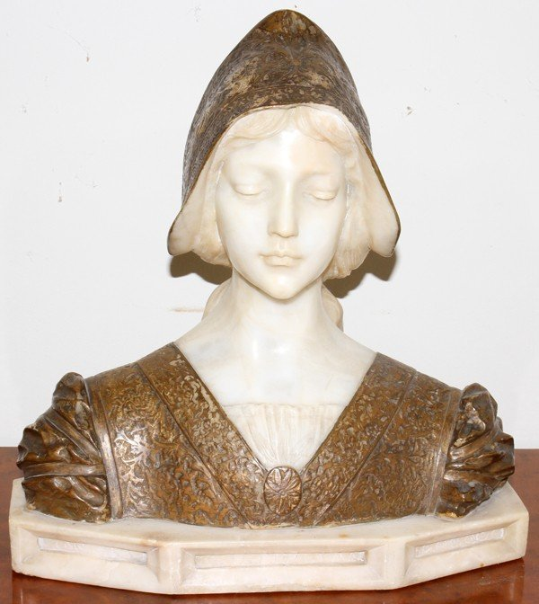 112005: MALAVOLTI, ITALIAN CARVED MARBLE BUST