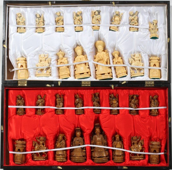 120005: CHINESE HAND CARVED IVORY CHESS SET & BOARD