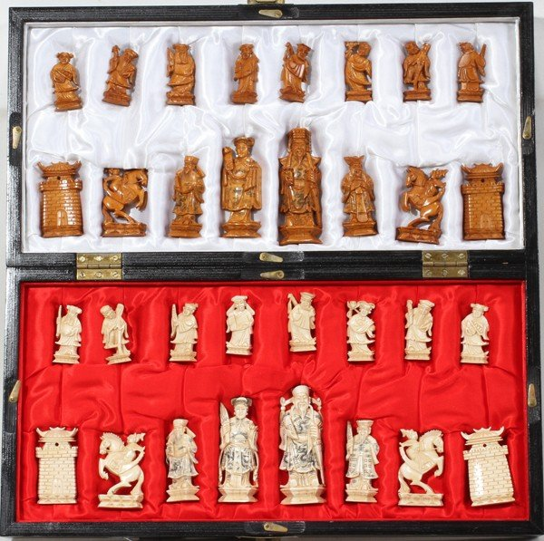 120007: CHINESE CARVED IVORY CHESS SET & BOARD