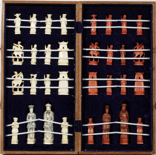 120008: CHINESE CARVED IVORY CHESS SET & BOARD