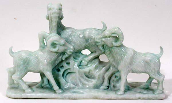 """120009: CHINESE CARVED JADE FIGURE, H 6"""""""