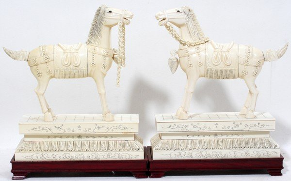 120011: CHINESE CARVED IVORY HORSE ON IVORY STAND