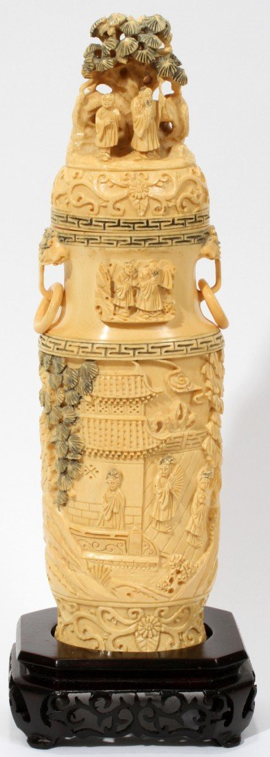 120012: CHINESE CARVED IVORY COVERED VASE WITH STAND