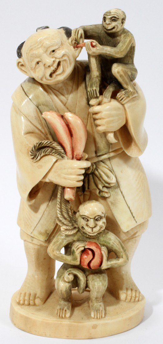 120013: CHINESE CARVED IVORY FIGURE HOLDING MONKEYS
