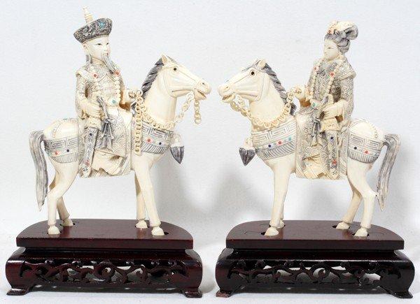 120014: CHINESE IVORY EMPEROR & EMPRESS ON HORSEBACK