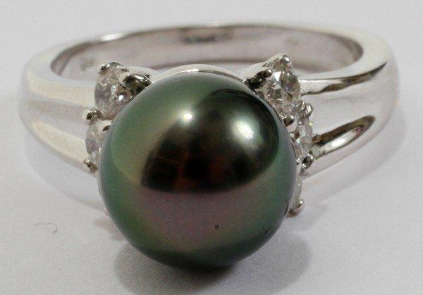 "120019: 9.50MM TAHITIAN PEARL & DIAMOND RING SIZE 6"""