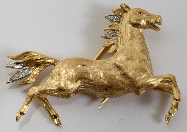 """120023: 18KT YELLOW GOLD HORSE PIN, L 2"""""""