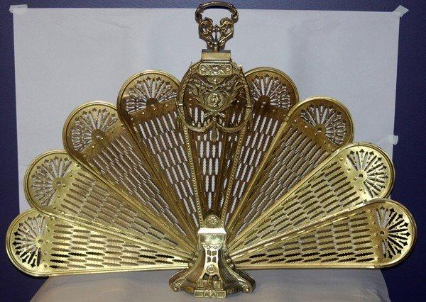 brass fan shape fireplace screen