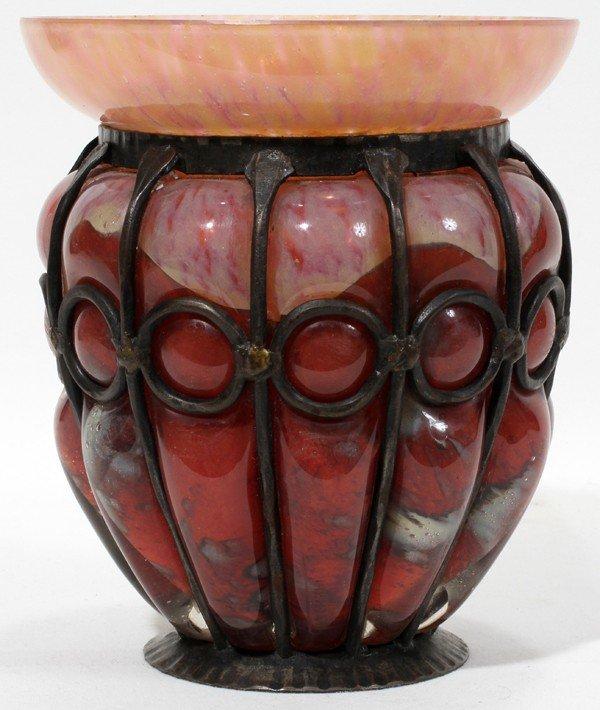 121002: SCHNEIDER, FRENCH ART GLASS & METAL VASE
