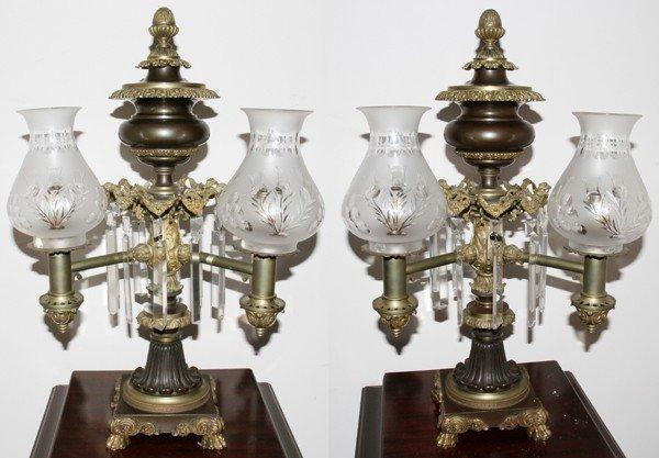 121022: DOUBLE ARGAND BANQUET LAMPS, PAIR