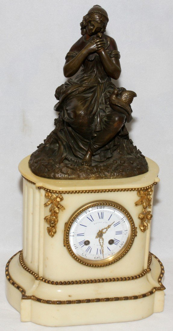 121024: FRENCH BRONZE & MARBLE FIGURAL CLOCK