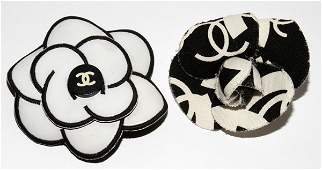 121436 CHANEL CAMELLIA PINS TWO
