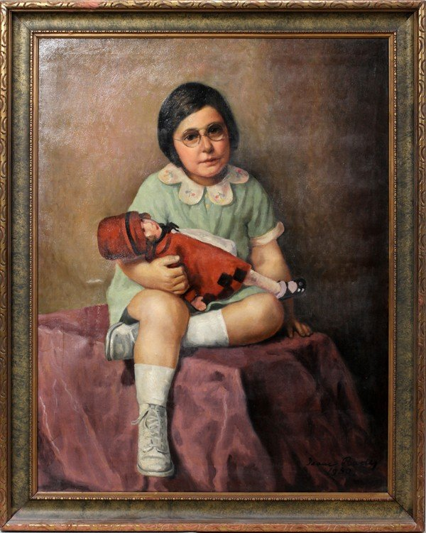 122012: ISAAC RADER, OIL/CANVAS, 1930 GIRL WITH DOLL