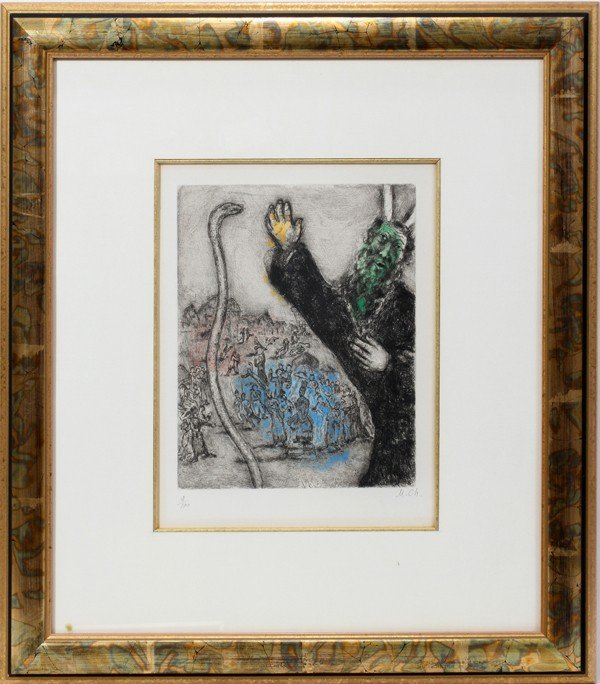 122019: MARC CHAGALL, ETCHING WITH HAND COLORING