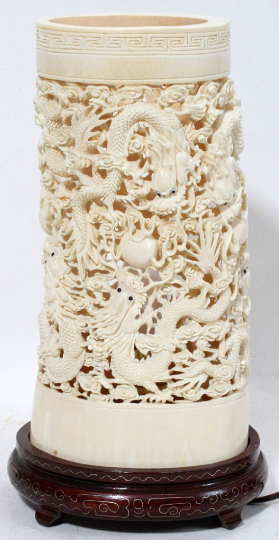"010003: CHINESE CARVED IVORY LAMP, H 9 1/2"", L 4 7/8"""