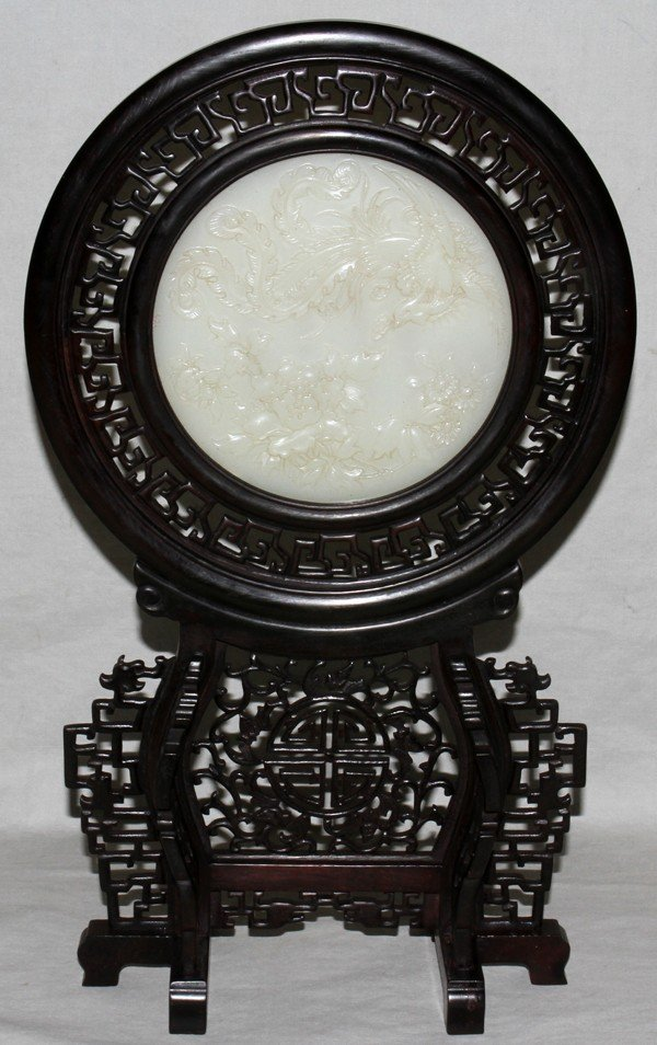 010008: MODERN CHINESE WHITE JADE TABLE SCREEN,