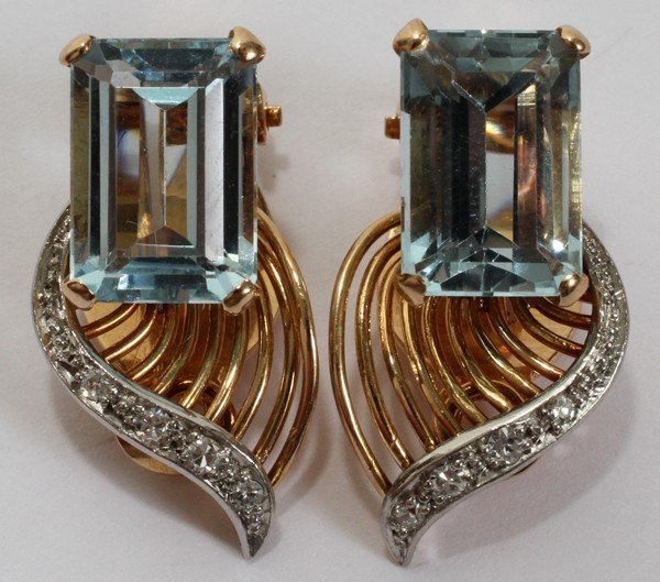 010014: 18KT GOLD AQUAMARINE EARRINGS