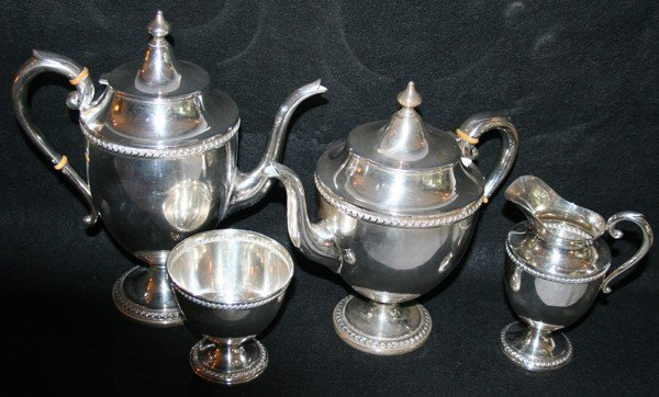 010223: U.S. STERLING COFFEE POT, TEA POT, CREAMER,