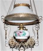 010426: VICTORIAN METAL & MILK GLASS HANGING OIL LAMP,