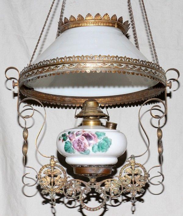 VICTORIAN METAL & MILK GLASS HANGING OIL LAMP,