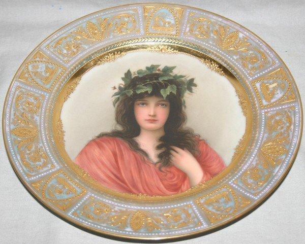 011003: ROYAL VIENNA PORCELAIN PORTRAIT PLATE, 'IVY',