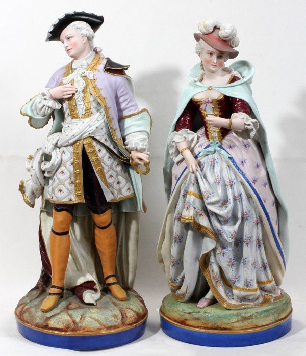011010: CONTINENTAL BISQUE FIGURES, LATE 19TH C., PAIR