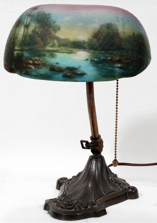 011011: PITTSBURG REVERSE-PAINTED DESK LAMP, SIGNED