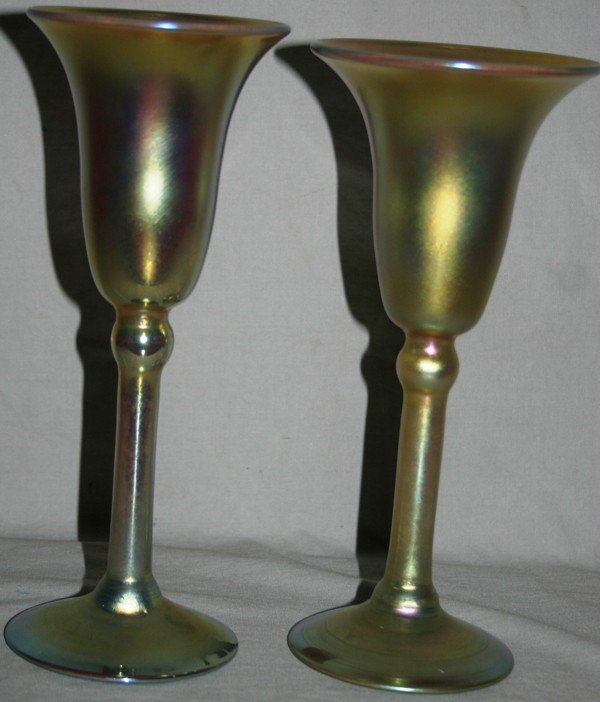"""011018: TIFFANY FAVRILE GLASS GOBLETS, TWO, H 8 3/4"""","""